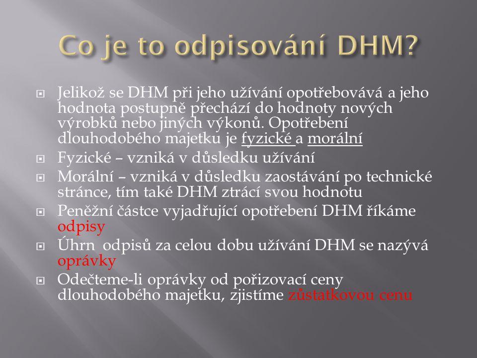  Jelikož se DHM při jeho užívání opotřebovává a jeho hodnota postupně přechází do hodnoty nových výrobků nebo jiných výkonů.