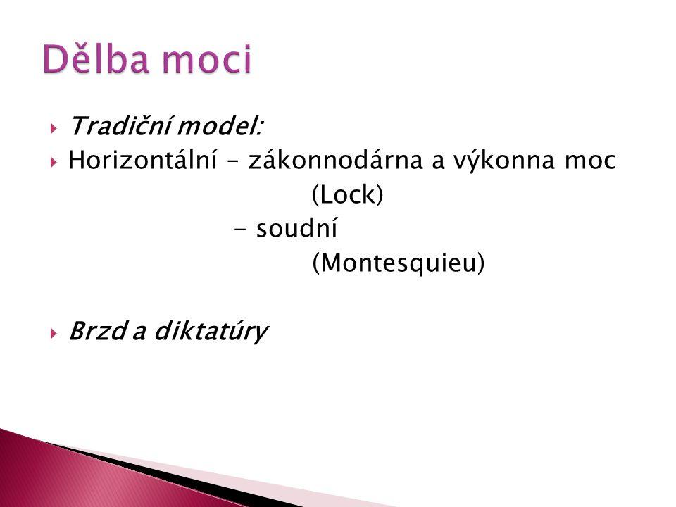  Tradiční model:  Horizontální – zákonnodárna a výkonna moc (Lock) - soudní (Montesquieu)  Brzd a diktatúry