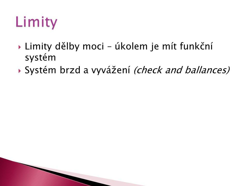 Limity dělby moci – úkolem je mít funkční systém  Systém brzd a vyvážení (check and ballances)