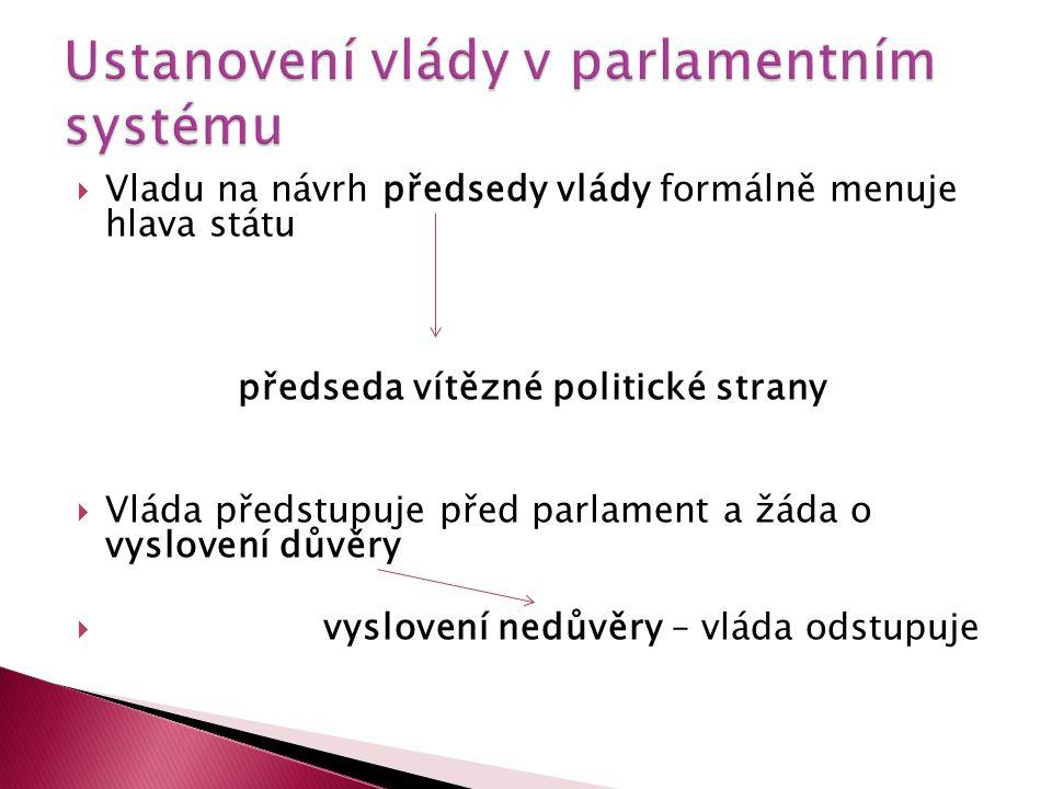  Vladu na návrh předsedy vlády formálně menuje hlava státu předseda vítězné politické strany  Vláda předstupuje před parlament a žáda o vyslovení dů