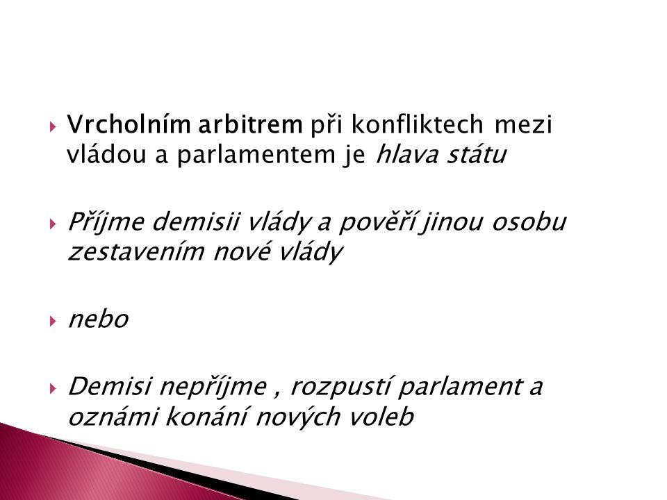  Vrcholním arbitrem při konfliktech mezi vládou a parlamentem je hlava státu  Příjme demisii vlády a pověří jinou osobu zestavením nové vlády  nebo