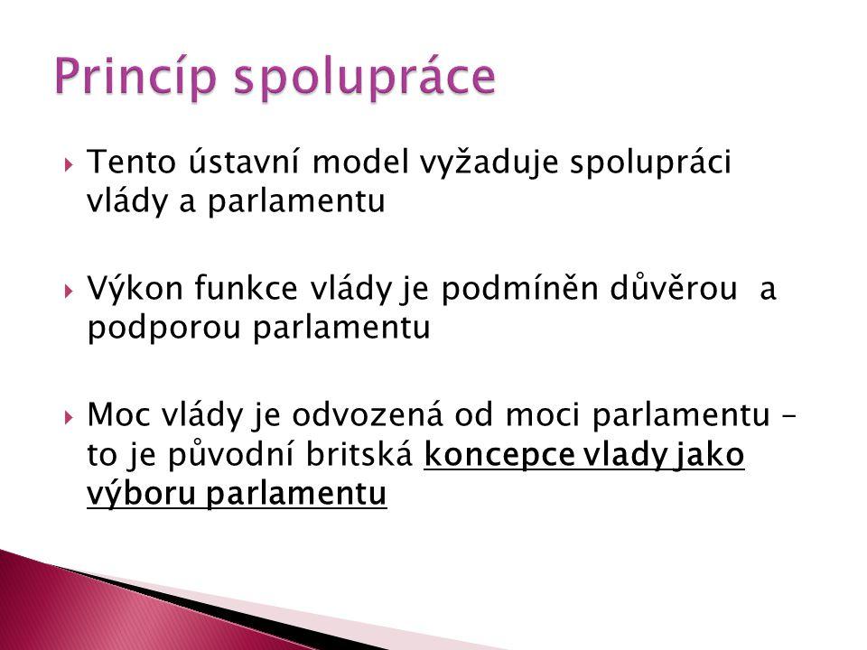  Tento ústavní model vyžaduje spolupráci vlády a parlamentu  Výkon funkce vlády je podmíněn důvěrou a podporou parlamentu  Moc vlády je odvozená od
