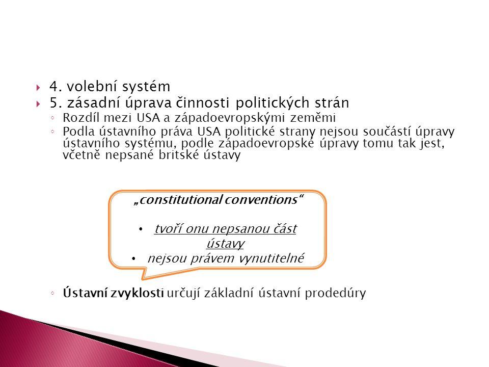  4. volební systém  5. zásadní úprava činnosti politických strán ◦ Rozdíl mezi USA a západoevropskými zeměmi ◦ Podla ústavního práva USA politické s