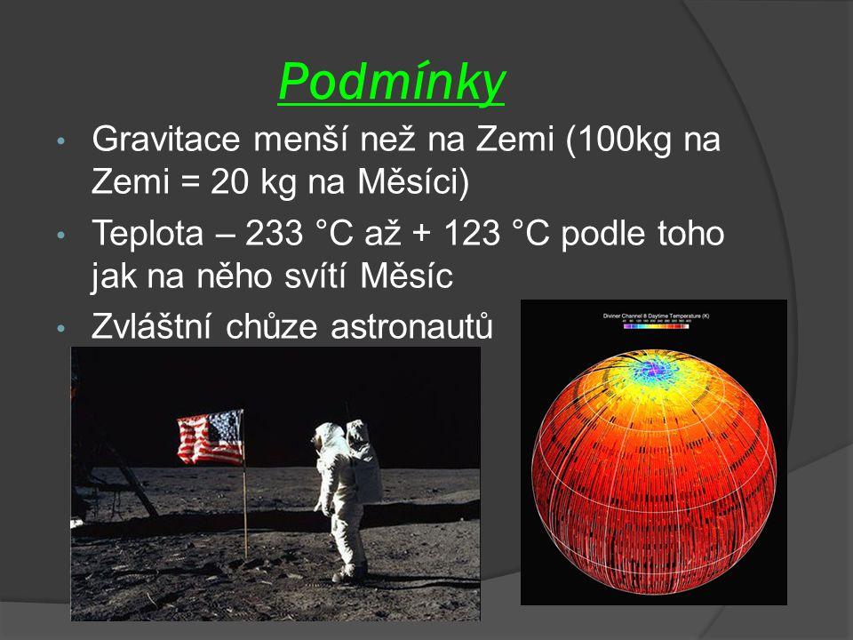 Podmínky Gravitace menší než na Zemi (100kg na Zemi = 20 kg na Měsíci) Teplota – 233 °C až + 123 °C podle toho jak na něho svítí Měsíc Zvláštní chůze