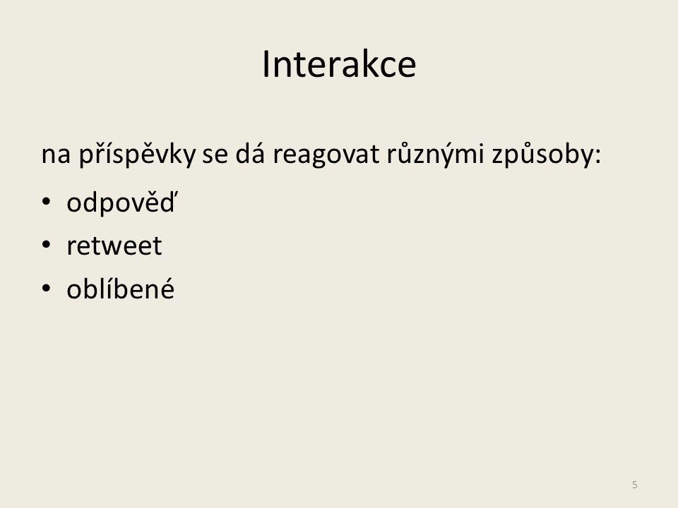 Interakce na příspěvky se dá reagovat různými způsoby: odpověď retweet oblíbené 5