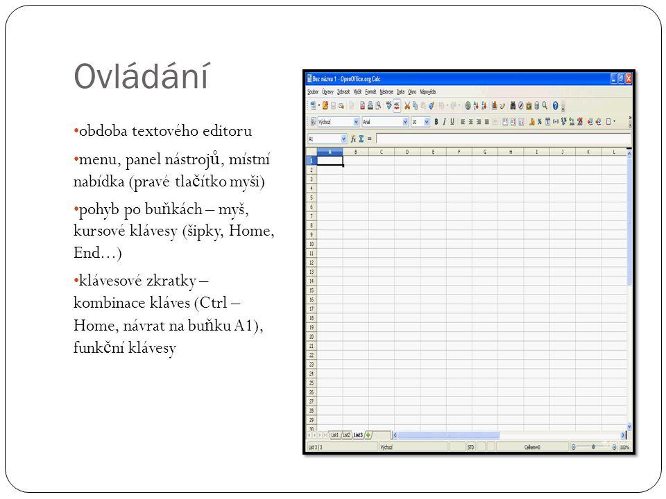 Ovládání obdoba textového editoru menu, panel nástrojů, místní nabídka (pravé tlačítko myši) pohyb po buňkách – myš, kursové klávesy (šipky, Home, End
