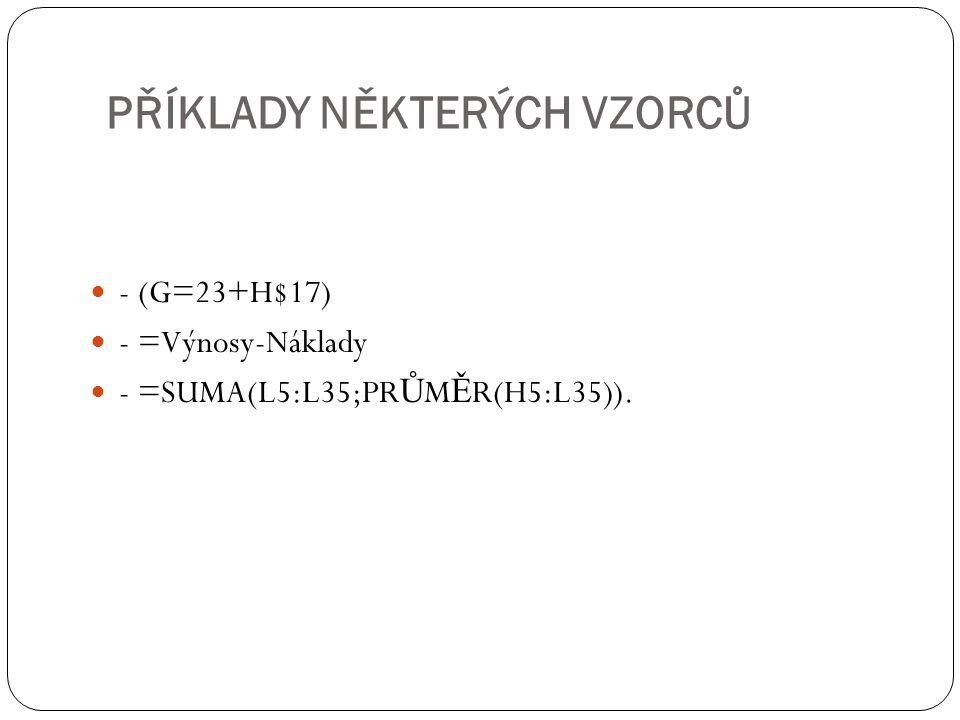 - (G=23+H$17) - =Výnosy-Náklady - =SUMA(L5:L35;PR Ů M Ě R(H5:L35)). PŘÍKLADY NĚKTERÝCH VZORCŮ