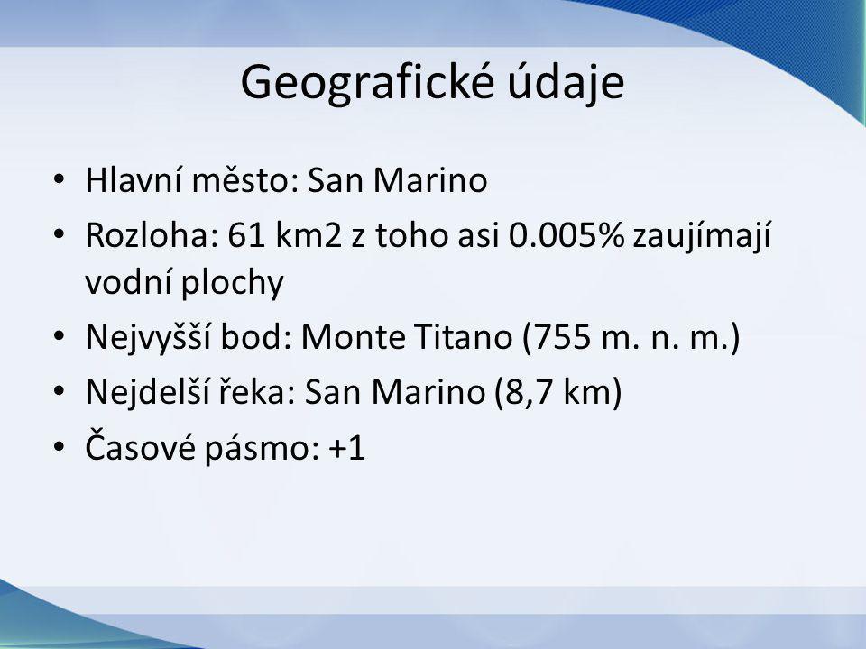 Geografické údaje Hlavní město: San Marino Rozloha: 61 km2 z toho asi 0.005% zaujímají vodní plochy Nejvyšší bod: Monte Titano (755 m.