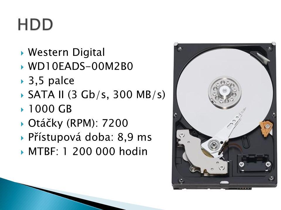  Western Digital  WD10EADS-00M2B0  3,5 palce  SATA II (3 Gb/s, 300 MB/s)  1000 GB  Otáčky (RPM): 7200  Přístupová doba: 8,9 ms  MTBF: 1 200 000 hodin