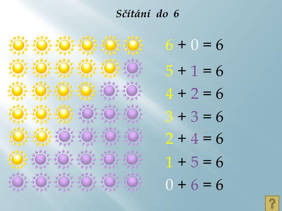Sčítání do 6 6 + 0 = 6 5 + 1 = 6 4 + 2 = 6 3 + 3 = 6 2 + 4 = 6 1 + 5 = 6 0 + 6 = 6