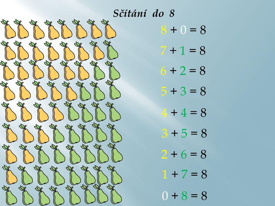 Sčítání do 9 9 + 0 = 9 8 + 1 = 9 7 + 2 = 9 6 + 3 = 9 5 + 4 = 9 4 + 5 = 9 3 + 6 = 9 2 + 7 = 9 1 + 8 = 9 0 + 9 = 9