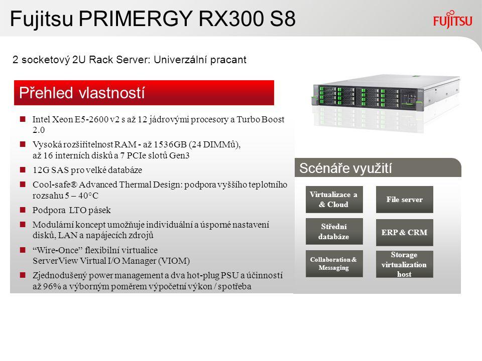 10Copyright 2010 FUJITSU Fujitsu PRIMERGY RX300 S8 2 socketový 2U Rack Server: Univerzální pracant Střední databáze Collaboration & Messaging ERP & CR