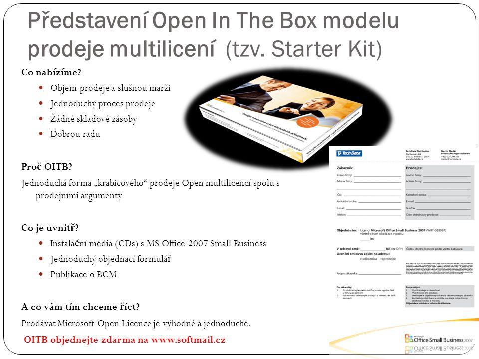 Představení Open In The Box modelu prodeje multilicení (tzv. Starter Kit) Co nabízíme? Objem prodeje a slušnou marži Jednoduchý proces prodeje Žádné s