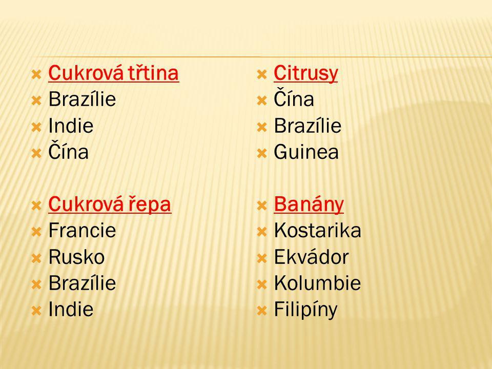  Cukrová třtina  Brazílie  Indie  Čína  Cukrová řepa  Francie  Rusko  Brazílie  Indie  Citrusy  Čína  Brazílie  Guinea  Banány  Kostari