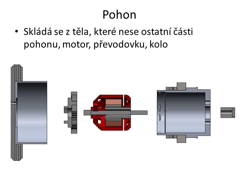 Pohon Skládá se z těla, které nese ostatní části pohonu, motor, převodovku, kolo