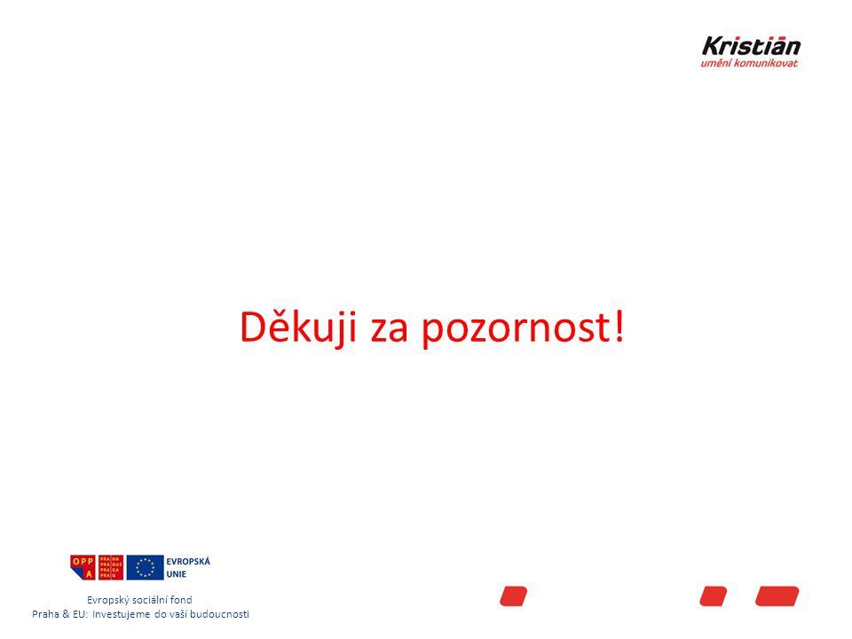 Evropský sociální fond Praha & EU: Investujeme do vaší budoucnosti Děkuji za pozornost!