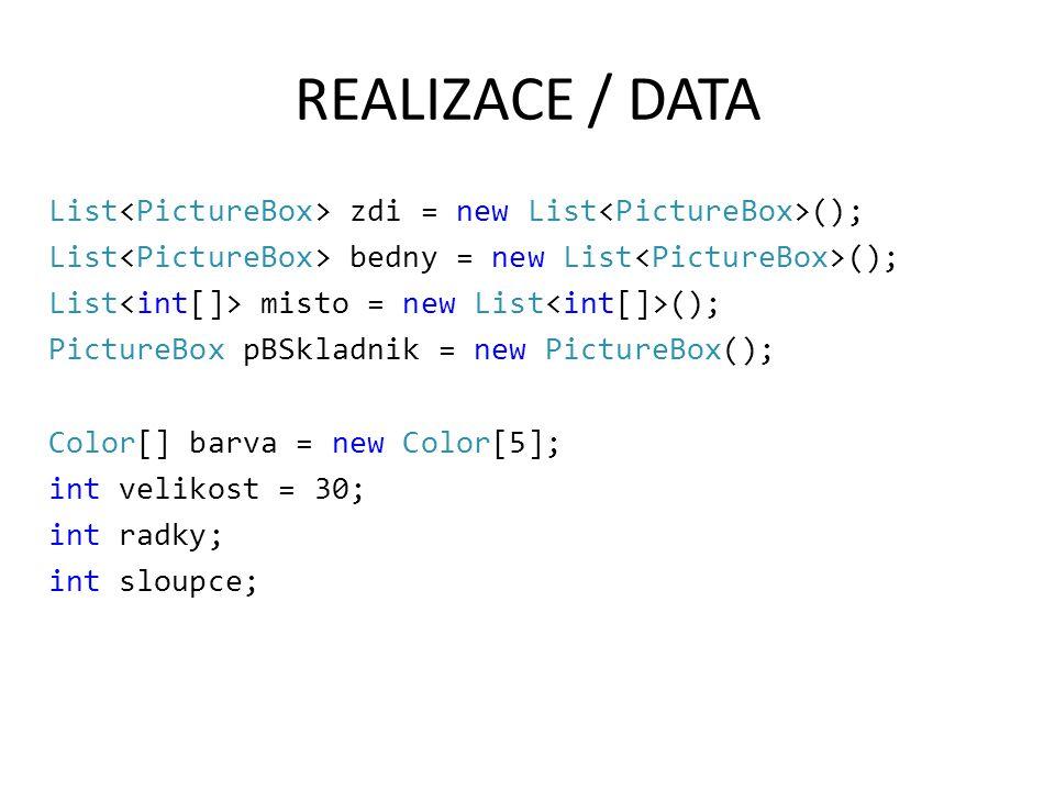 REALIZACE / INICIALIZACE FileStream f = new FileStream(…); StreamReader r = new StreamReader(f); radky = Convert.ToInt32(r.ReadLine()); sloupce = Convert.ToInt32(r.ReadLine()); for (int i = 0; i < radky * sloupce; i++) { PictureBox z = new PictureBox(); z.Height = velikost; z.Width = velikost; … int cislo = Convert.ToInt32(r.ReadLine()); if (cislo == 0) { //zed z.Tag = cislo; z.BackColor = barva[cislo]; } if (cislo == 1) { …