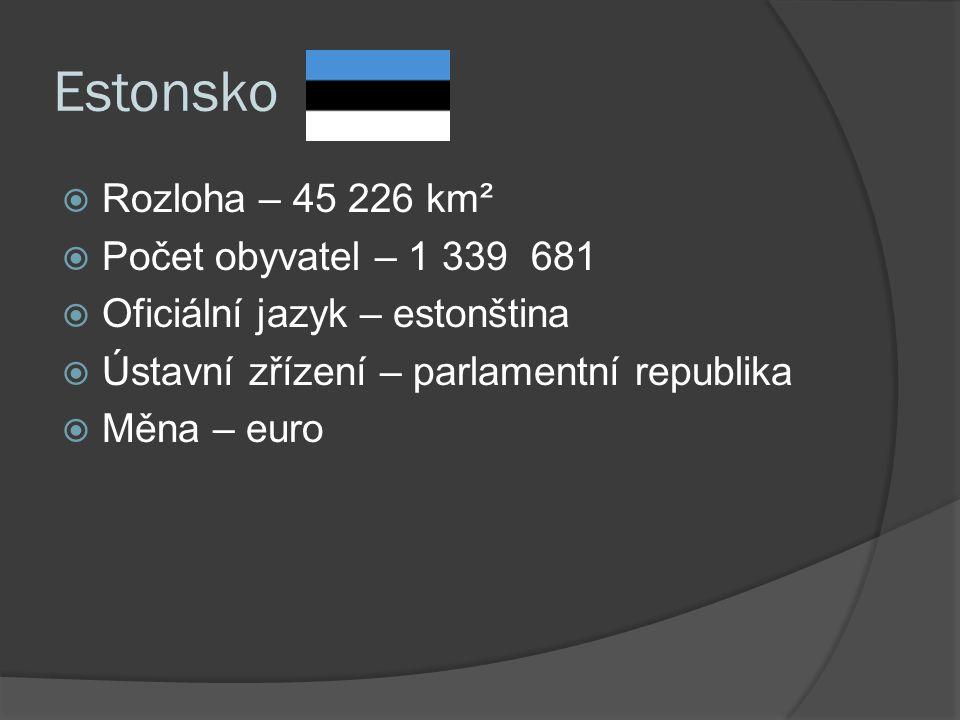 Estonsko  Rozloha – 45 226 km²  Počet obyvatel – 1 339 681  Oficiální jazyk – estonština  Ústavní zřízení – parlamentní republika  Měna – euro