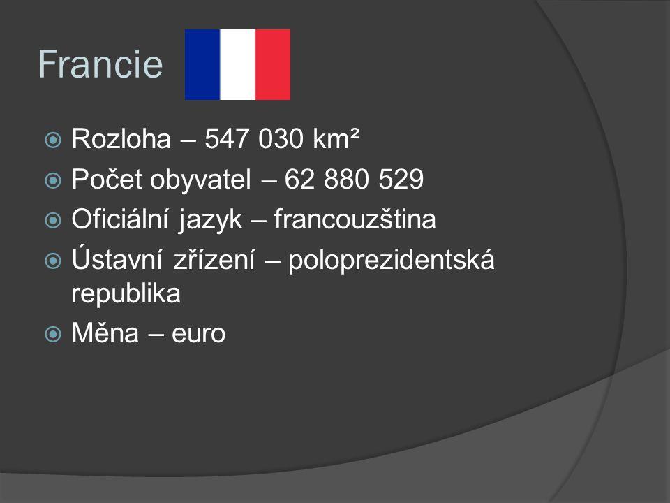 Francie  Rozloha – 547 030 km²  Počet obyvatel – 62 880 529  Oficiální jazyk – francouzština  Ústavní zřízení – poloprezidentská republika  Měna – euro