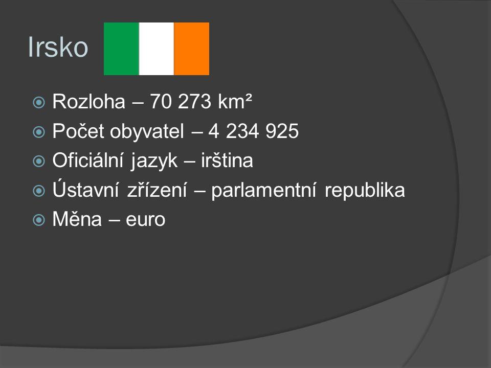 Irsko  Rozloha – 70 273 km²  Počet obyvatel – 4 234 925  Oficiální jazyk – irština  Ústavní zřízení – parlamentní republika  Měna – euro