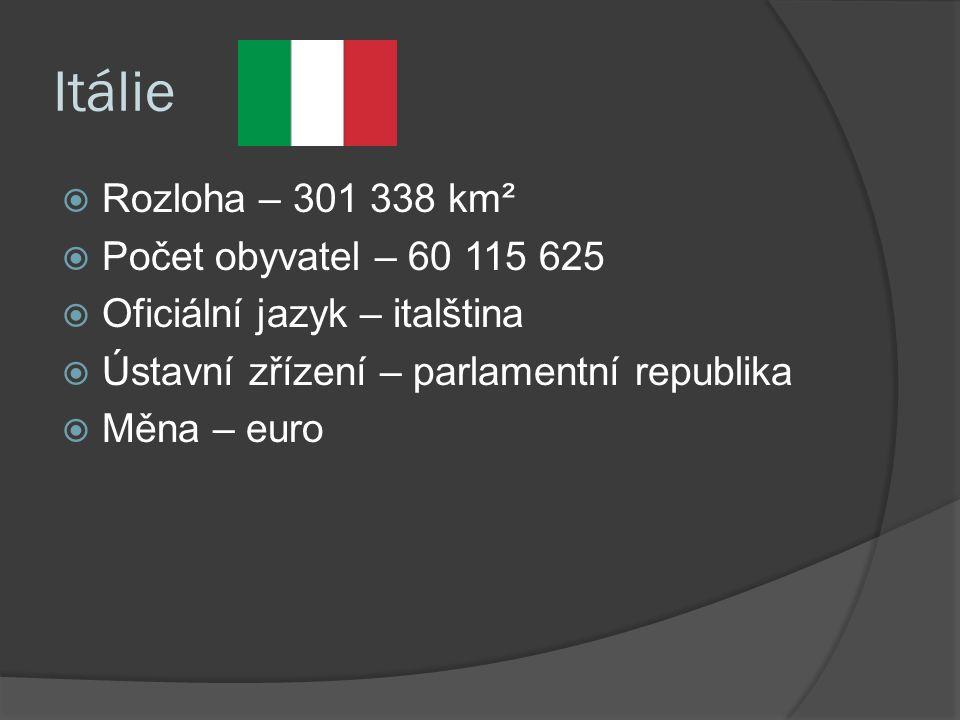 Itálie  Rozloha – 301 338 km²  Počet obyvatel – 60 115 625  Oficiální jazyk – italština  Ústavní zřízení – parlamentní republika  Měna – euro