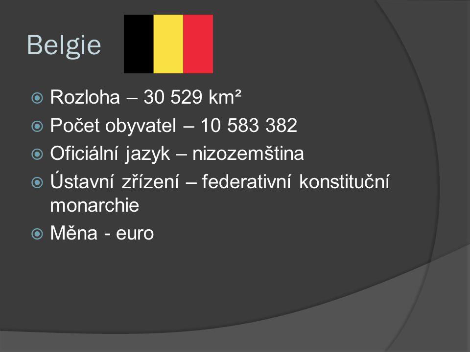 Belgie  Rozloha – 30 529 km²  Počet obyvatel – 10 583 382  Oficiální jazyk – nizozemština  Ústavní zřízení – federativní konstituční monarchie  Měna - euro