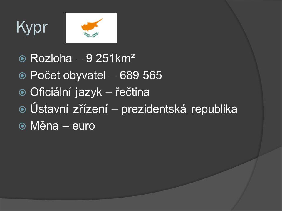 Kypr  Rozloha – 9 251km²  Počet obyvatel – 689 565  Oficiální jazyk – řečtina  Ústavní zřízení – prezidentská republika  Měna – euro