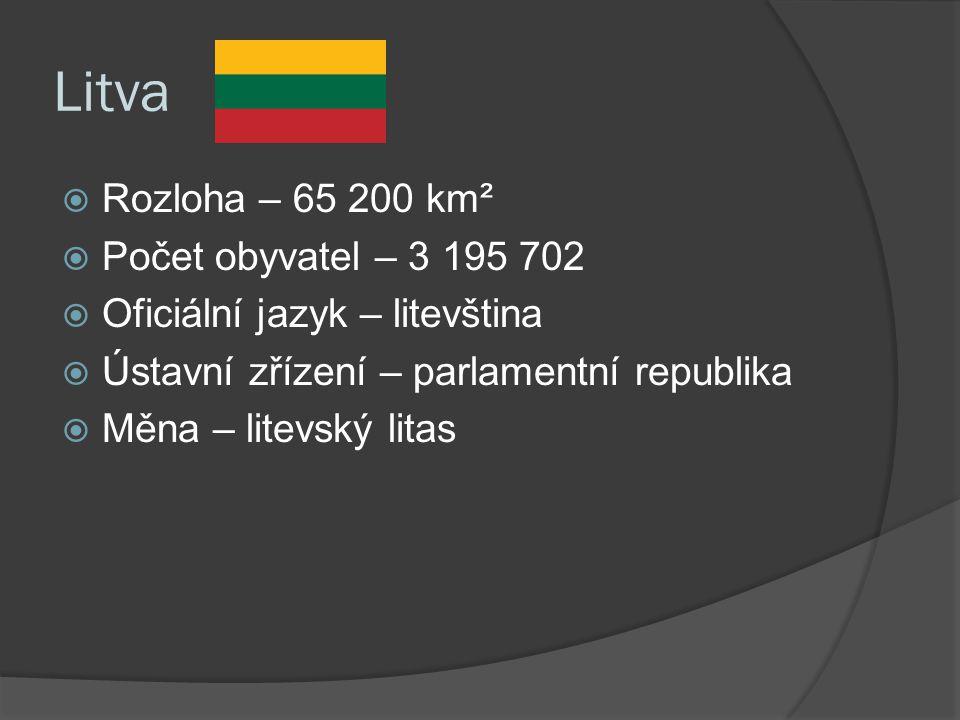 Litva  Rozloha – 65 200 km²  Počet obyvatel – 3 195 702  Oficiální jazyk – litevština  Ústavní zřízení – parlamentní republika  Měna – litevský litas