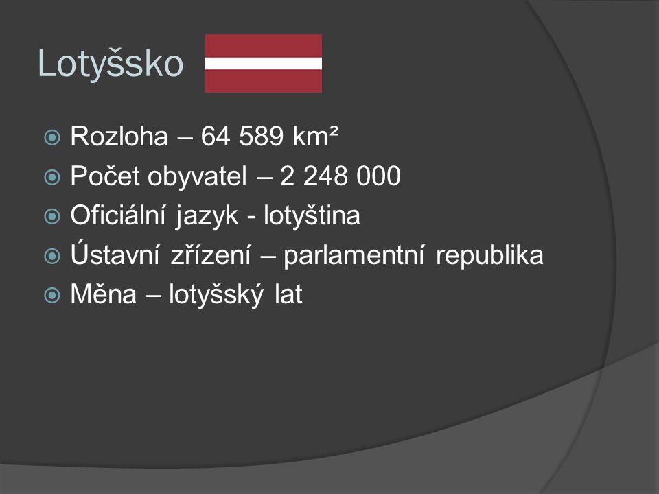 Lotyšsko  Rozloha – 64 589 km²  Počet obyvatel – 2 248 000  Oficiální jazyk - lotyština  Ústavní zřízení – parlamentní republika  Měna – lotyšský lat