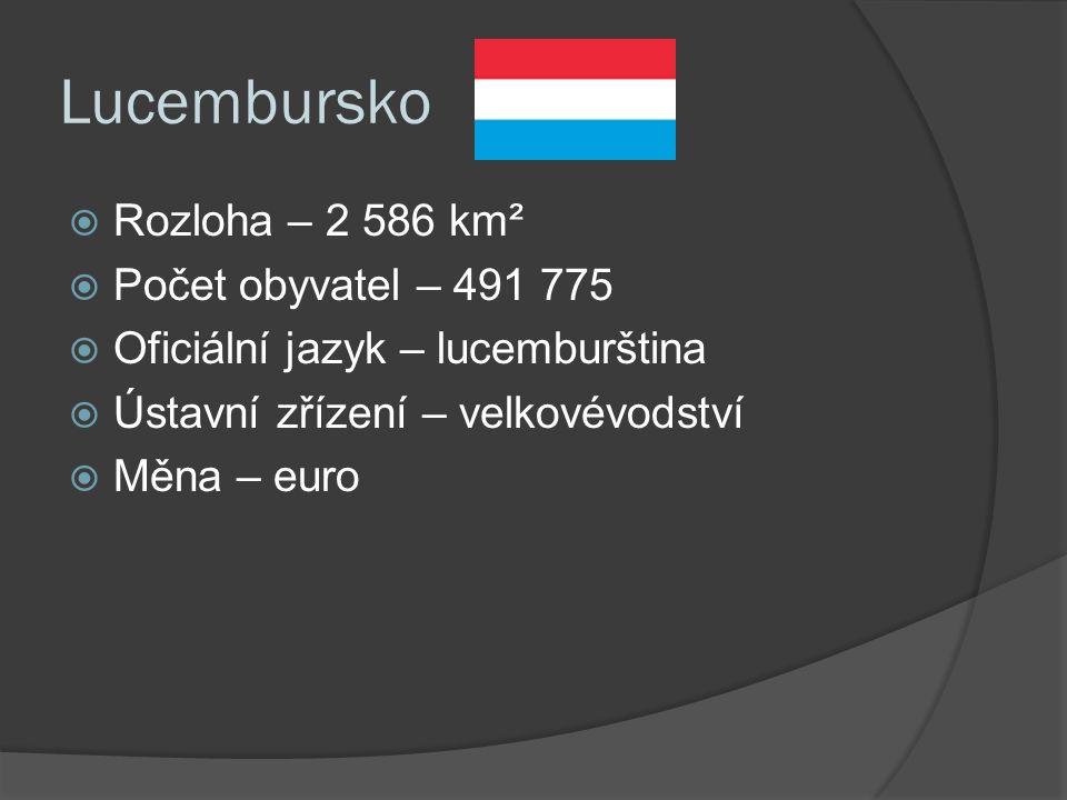 Lucembursko  Rozloha – 2 586 km²  Počet obyvatel – 491 775  Oficiální jazyk – lucemburština  Ústavní zřízení – velkovévodství  Měna – euro