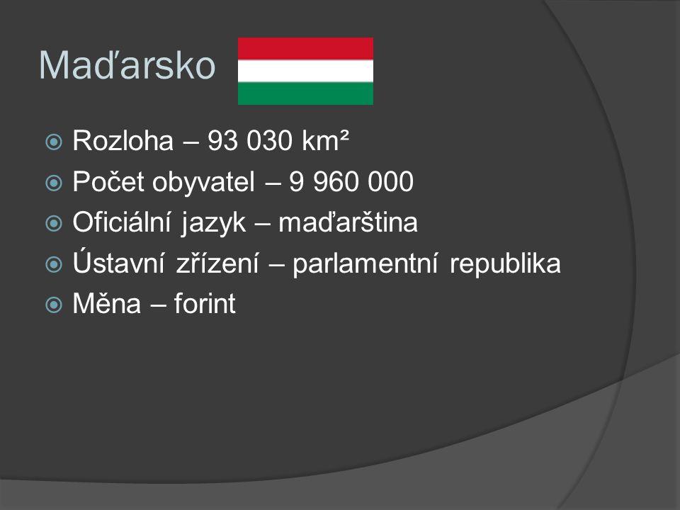 Maďarsko  Rozloha – 93 030 km²  Počet obyvatel – 9 960 000  Oficiální jazyk – maďarština  Ústavní zřízení – parlamentní republika  Měna – forint