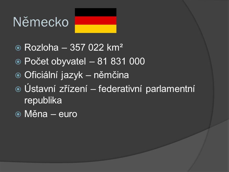 Německo  Rozloha – 357 022 km²  Počet obyvatel – 81 831 000  Oficiální jazyk – němčina  Ústavní zřízení – federativní parlamentní republika  Měna – euro