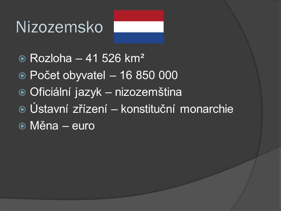 Nizozemsko  Rozloha – 41 526 km²  Počet obyvatel – 16 850 000  Oficiální jazyk – nizozemština  Ústavní zřízení – konstituční monarchie  Měna – euro