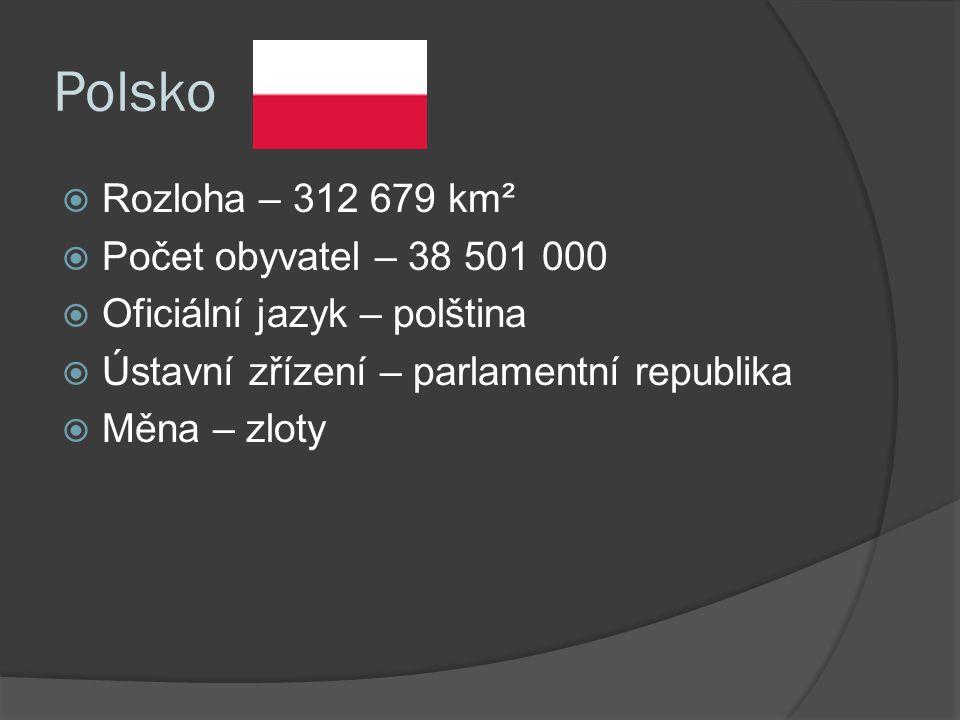 Polsko  Rozloha – 312 679 km²  Počet obyvatel – 38 501 000  Oficiální jazyk – polština  Ústavní zřízení – parlamentní republika  Měna – zloty