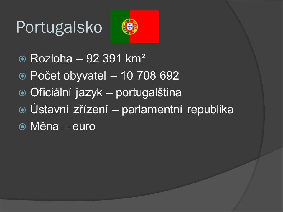 Portugalsko  Rozloha – 92 391 km²  Počet obyvatel – 10 708 692  Oficiální jazyk – portugalština  Ústavní zřízení – parlamentní republika  Měna – euro
