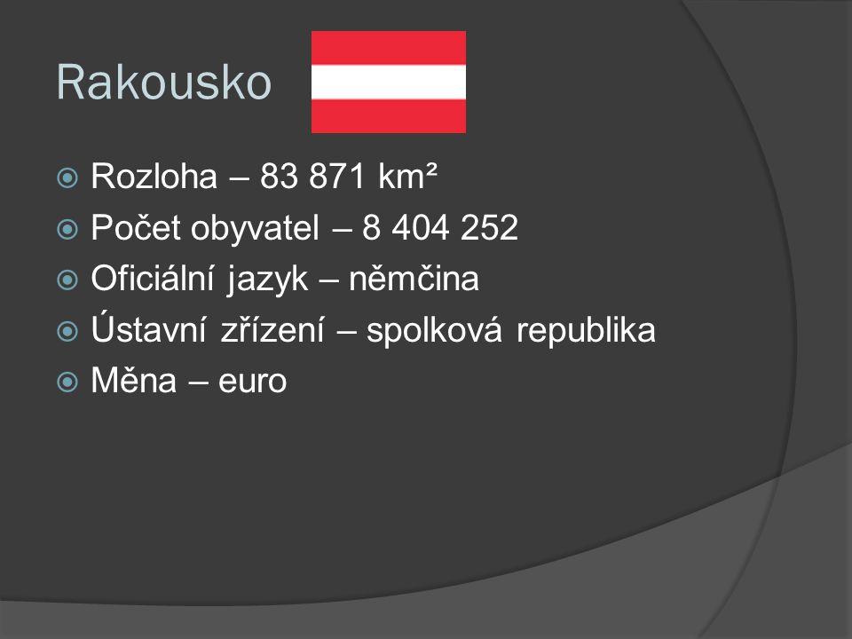 Rakousko  Rozloha – 83 871 km²  Počet obyvatel – 8 404 252  Oficiální jazyk – němčina  Ústavní zřízení – spolková republika  Měna – euro