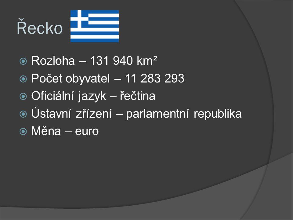 Řecko  Rozloha – 131 940 km²  Počet obyvatel – 11 283 293  Oficiální jazyk – řečtina  Ústavní zřízení – parlamentní republika  Měna – euro