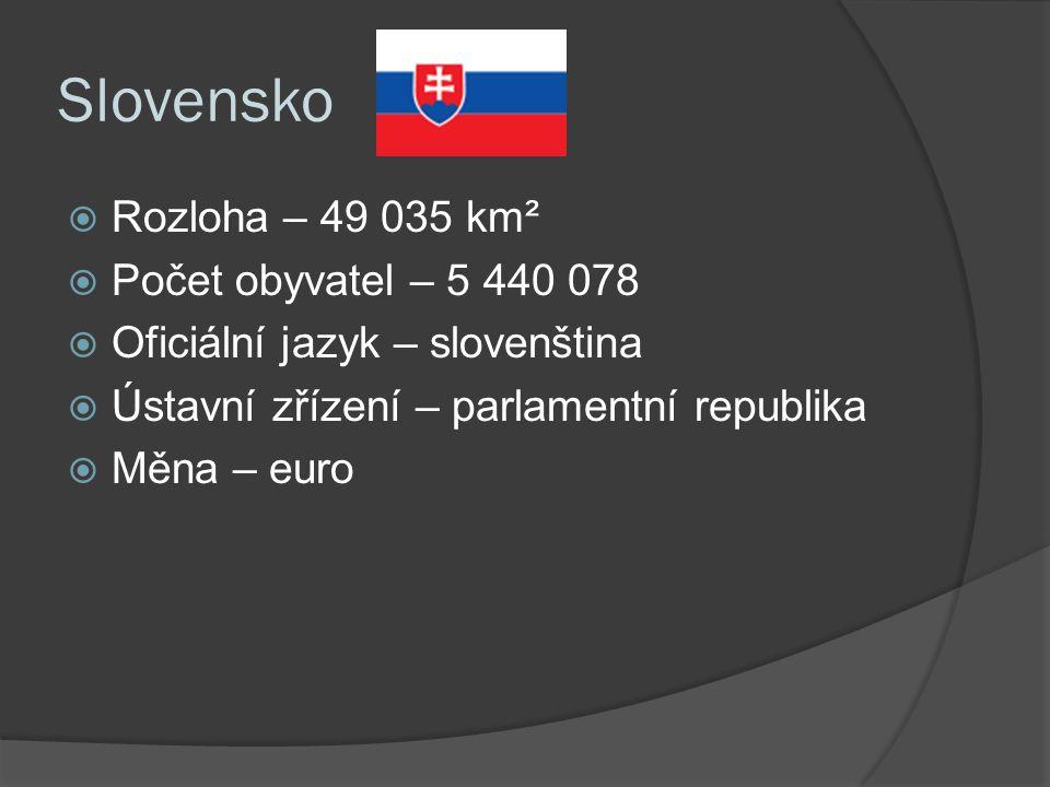 Slovensko  Rozloha – 49 035 km²  Počet obyvatel – 5 440 078  Oficiální jazyk – slovenština  Ústavní zřízení – parlamentní republika  Měna – euro