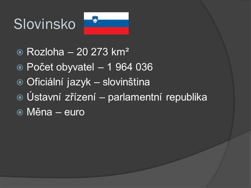 Slovinsko  Rozloha – 20 273 km²  Počet obyvatel – 1 964 036  Oficiální jazyk – slovinština  Ústavní zřízení – parlamentní republika  Měna – euro