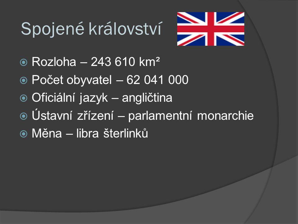 Spojené království  Rozloha – 243 610 km²  Počet obyvatel – 62 041 000  Oficiální jazyk – angličtina  Ústavní zřízení – parlamentní monarchie  Měna – libra šterlinků