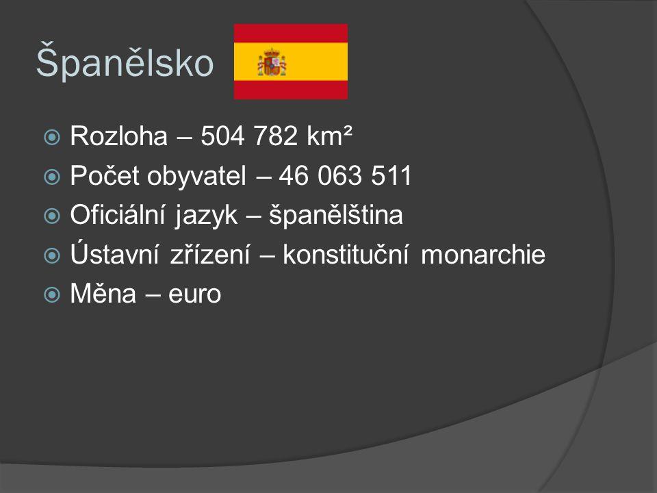 Španělsko  Rozloha – 504 782 km²  Počet obyvatel – 46 063 511  Oficiální jazyk – španělština  Ústavní zřízení – konstituční monarchie  Měna – euro
