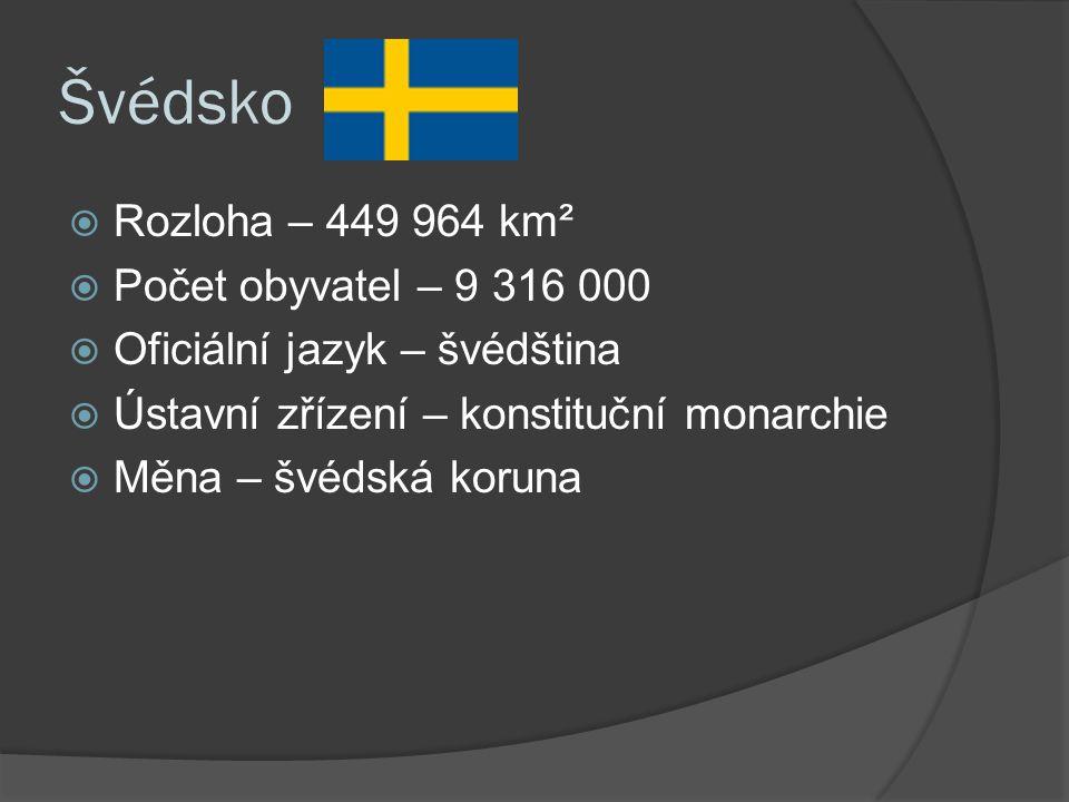 Švédsko  Rozloha – 449 964 km²  Počet obyvatel – 9 316 000  Oficiální jazyk – švédština  Ústavní zřízení – konstituční monarchie  Měna – švédská koruna