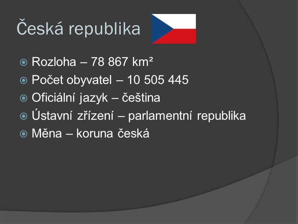 Česká republika  Rozloha – 78 867 km²  Počet obyvatel – 10 505 445  Oficiální jazyk – čeština  Ústavní zřízení – parlamentní republika  Měna – koruna česká