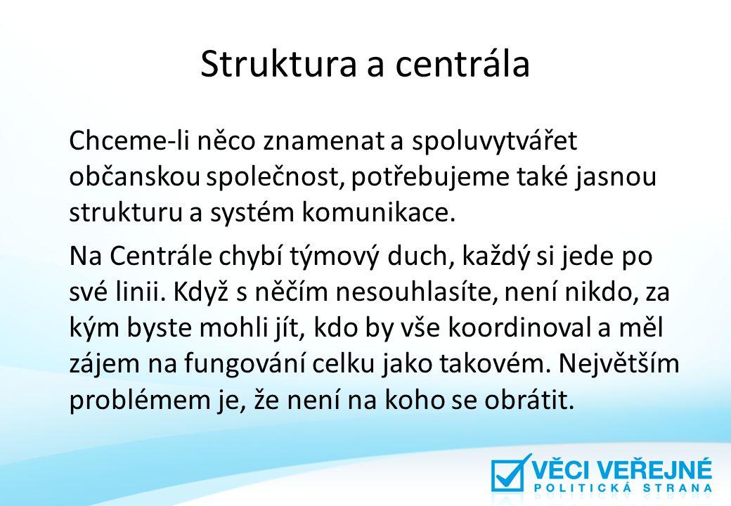 Struktura a centrála Chceme-li něco znamenat a spoluvytvářet občanskou společnost, potřebujeme také jasnou strukturu a systém komunikace.