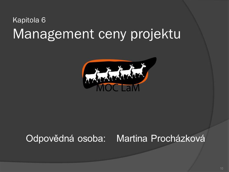 Kapitola 6 Management ceny projektu Odpovědná osoba:Martina Procházková 10