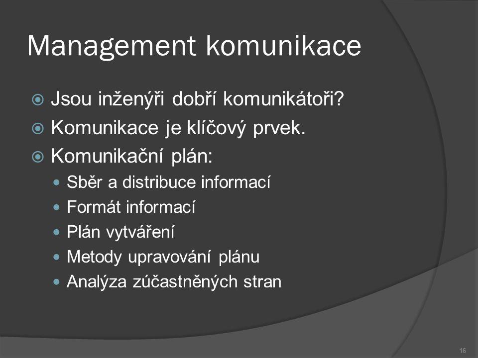 16 Management komunikace  Jsou inženýři dobří komunikátoři.