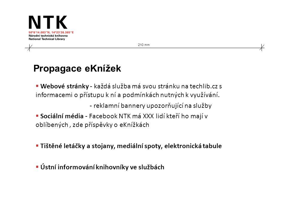 210 mm Propagace eKnížek  Webové stránky - každá služba má svou stránku na techlib.cz s informacemi o přístupu k ní a podmínkách nutných k využívání.