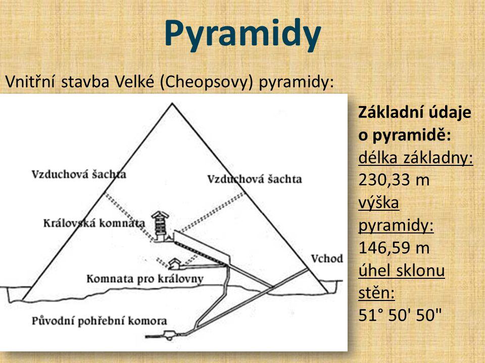 Pyramidy Vnitřní stavba Velké (Cheopsovy) pyramidy: Základní údaje o pyramidě: délka základny: 230,33 m výška pyramidy: 146,59 m úhel sklonu stěn: 51°