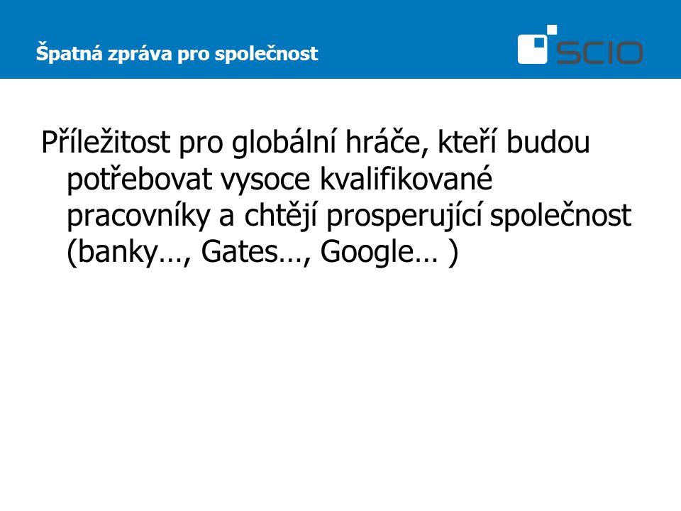 Špatná zpráva pro společnost Příležitost pro globální hráče, kteří budou potřebovat vysoce kvalifikované pracovníky a chtějí prosperující společnost (banky…, Gates…, Google… )