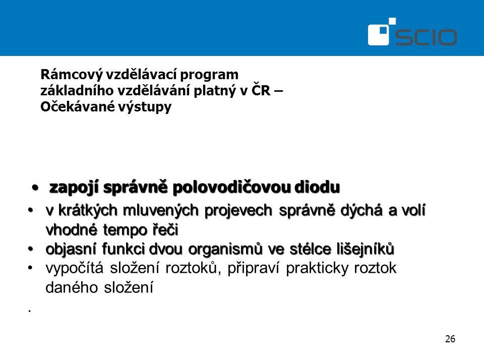 26 Rámcový vzdělávací program základního vzdělávání platný v ČR – Očekávané výstupy zapojí správně polovodičovou dioduzapojí správně polovodičovou dio